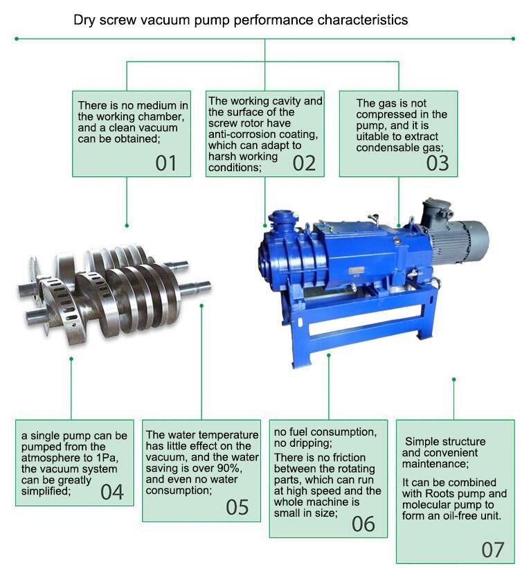 Dry screw vacuum pump characteristic