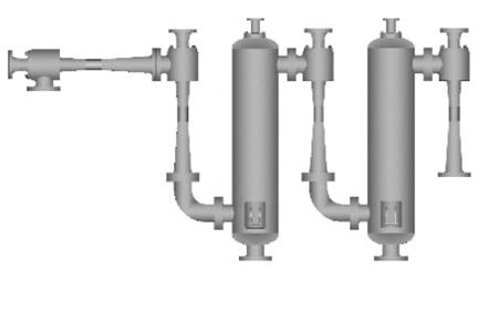Four stage steam jet vacuum pump