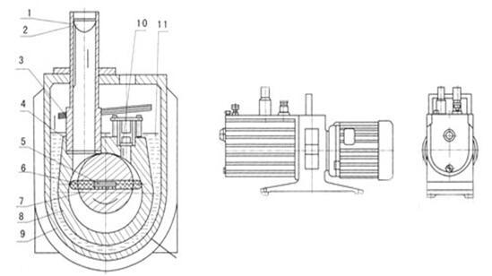 structure diagram of 2XZ vacuum pump
