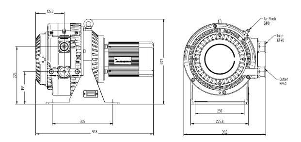 Dry scroll vacuum pumpinstallation