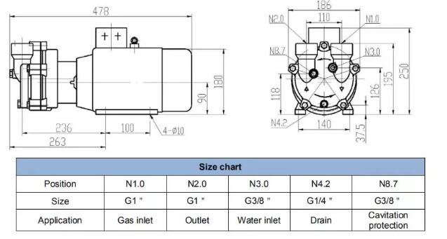 Single stage liquid ring vacuum pump installation dimension drawing