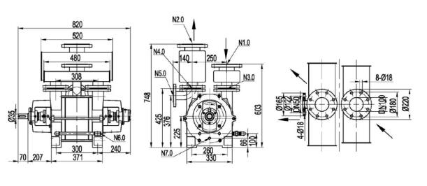 2be1 Single stage vacuum pump installation dimensions