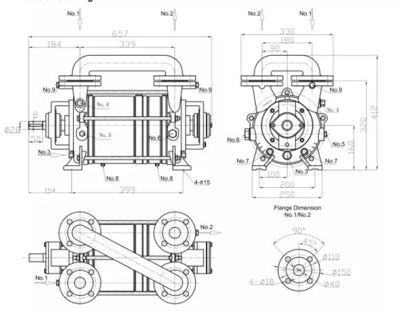 2SK series two-stage water ring vacuum pump installation dimensions