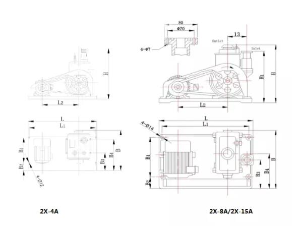 2x-a type two-stage rotary vane vacuum pump installation dimensions