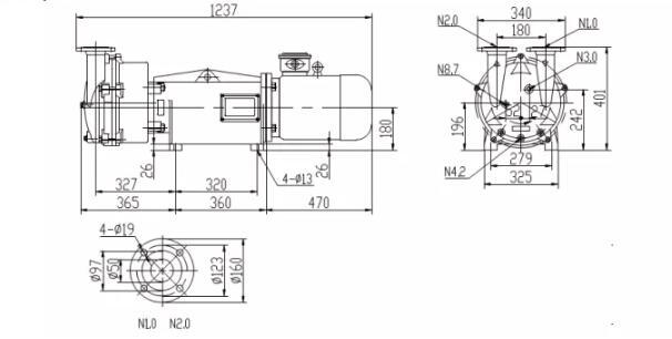 plastic vacuum pump installation dimensions