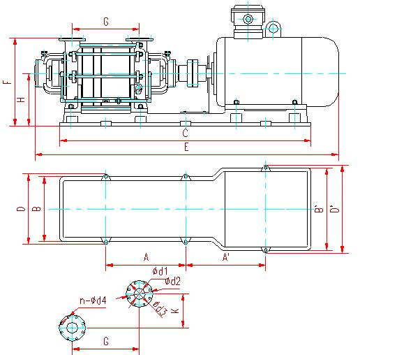 Two stage liquid ring compressor installation dimensions