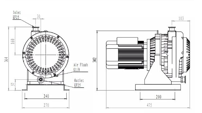 EVP Series Dry Scroll Vacuum Pump installation dimensions