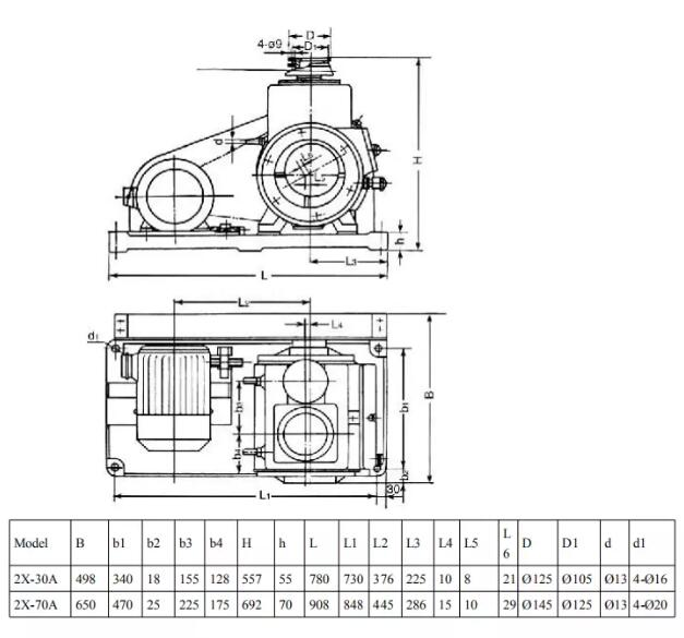 rotary vane vacuum mechanical pump installation dimensions
