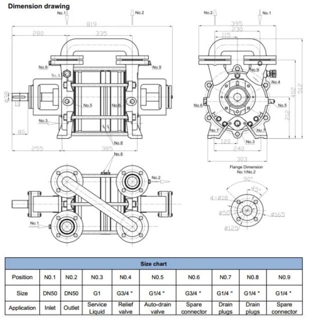 Two-stage liquid ring vacuum pump Installation dimensions