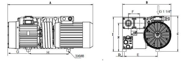 Single stage rotary vane vacuum pump installation dimensions