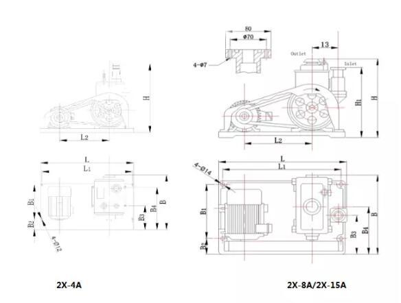 2X-A Rotary Vacuum Pump supply dimension<