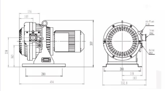 Dry Vacuum Pump price installation dimension