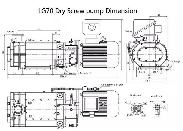 Dry Vacuum Pump Supply Installation dimensions
