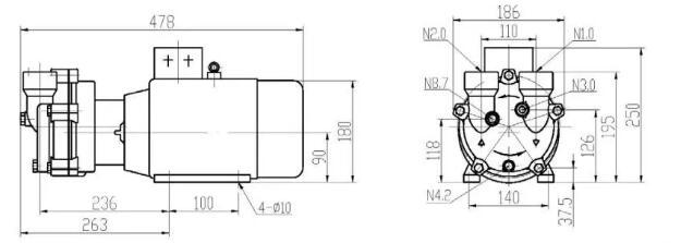 Vacuum pump for extruder installation size