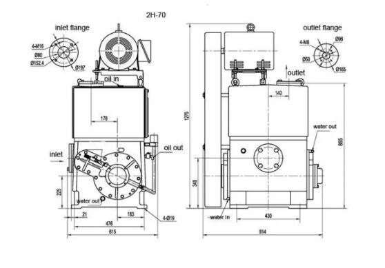 Rotary piston vacuum pump manufacturers overall dimensions