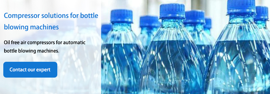 Compressor solutions for bottle blowing machines