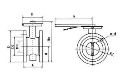 Manual flange type soft sealing butterfly valve size