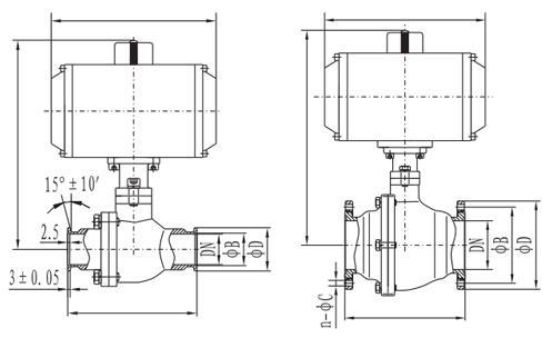 Flange ball valve size