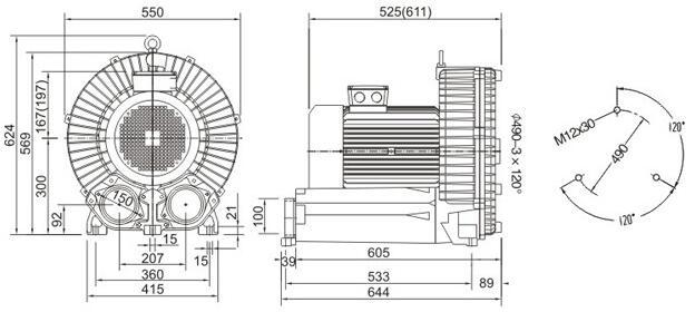 High-pressure blower size