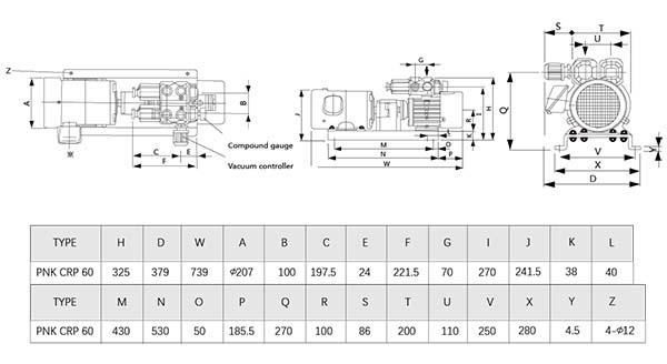 Oil-free rotary vane vacuum pumps installation dimensions