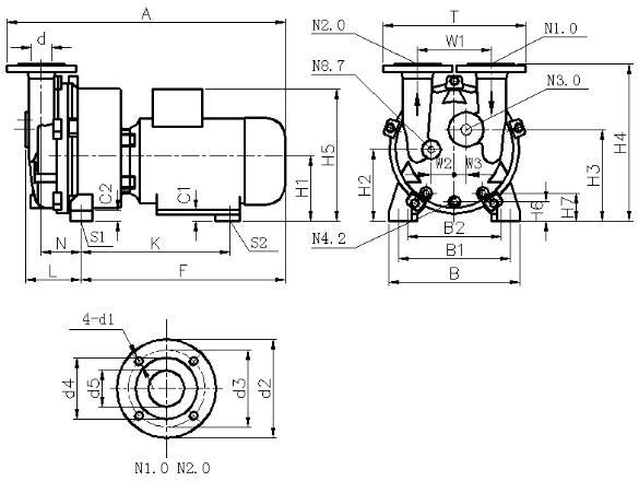2BV5 liquid ring vacuum pump dimensions