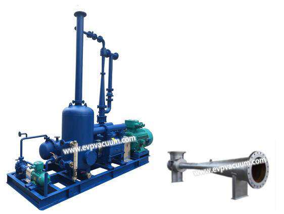 Jet vacuum pumps are usually used in conjunction with liquid ring pumps to keep the crude oil distillation tower under vacuum.